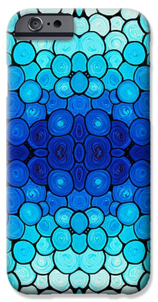 Contemporary Abstract iPhone Cases - Winter Lights - Blue Mosaic Art By Sharon Cummings iPhone Case by Sharon Cummings