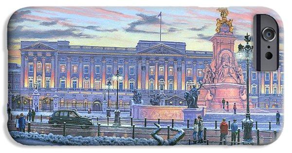 Queen Elizabeth iPhone Cases - Winter Lights Buckingham Palace iPhone Case by Richard Harpum