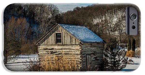 Log Cabin Art iPhone Cases - Winter Logcabin iPhone Case by Paul Freidlund