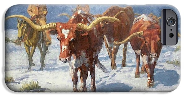 Randy iPhone Cases - Winter Longhorns iPhone Case by Randy Follis