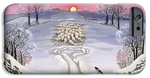Magpies iPhone Cases - Winter iPhone Case by Maggie Rowe