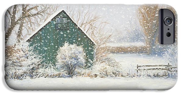 Barns Paintings iPhone Cases - Winter Magic iPhone Case by Lucie Bilodeau