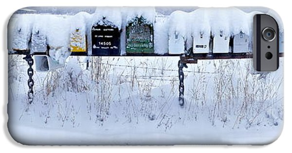 Winter Storm iPhone Cases - Winter Mailbox Panorama iPhone Case by Sean Griffin