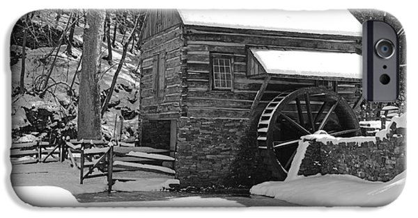 Grist Mill iPhone Cases - Winter Mill in Black and White iPhone Case by Paul Ward