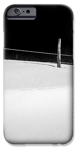 Snow Scene Landscape iPhone Cases - Winter Minimalism Black and White iPhone Case by Edward Fielding