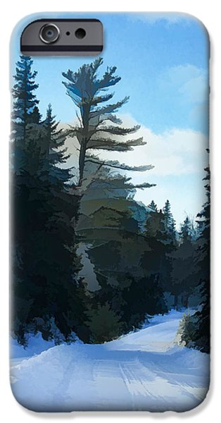 Snowbank iPhone Cases - Winter Mood Impressions - Snowy Road in Algonquin iPhone Case by Georgia Mizuleva
