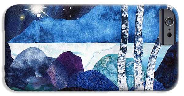 Snowy Night Mixed Media iPhone Cases - Winter Moon 2 iPhone Case by Susan Minier