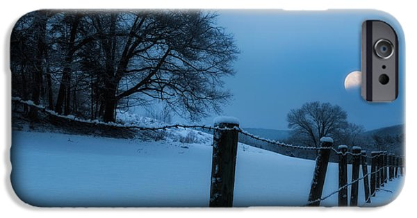 New England Snow Scene iPhone Cases - WInter Moon iPhone Case by Bill  Wakeley