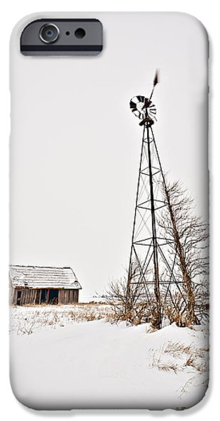 Red Barn In Winter iPhone Cases - Winter Moon II iPhone Case by Tom Phelan