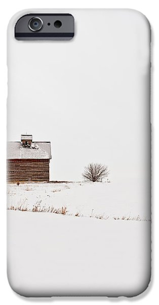 Red Barn In Winter iPhone Cases - Winter Moon III iPhone Case by Tom Phelan