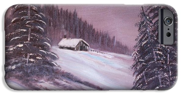 Bob Ross Paintings iPhone Cases - Winter Moon iPhone Case by Janice Rae Pariza