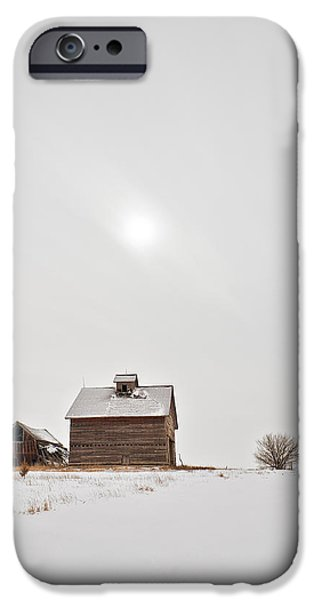 Red Barn In Winter iPhone Cases - Winter Moon iPhone Case by Tom Phelan