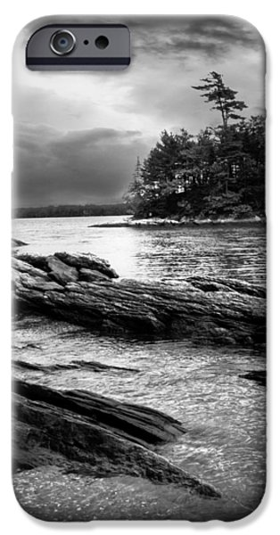 Winter Moonlight Wolfes Neck Woods Maine iPhone Case by Bob Orsillo