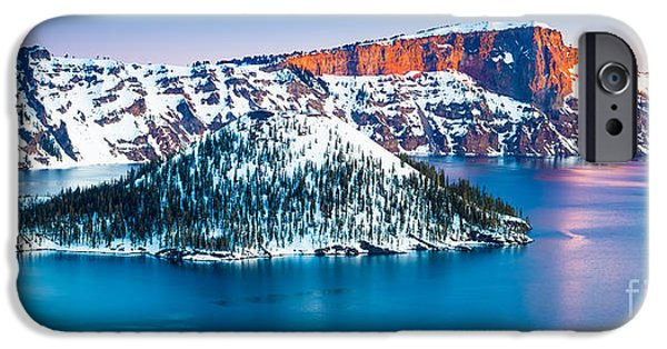 Drama iPhone Cases - Winter Morning at Crater Lake iPhone Case by Inge Johnsson