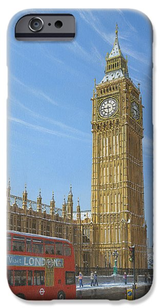 Houses Of Parliament iPhone Cases - Winter Morning Big Ben Elizabeth Tower London iPhone Case by Richard Harpum