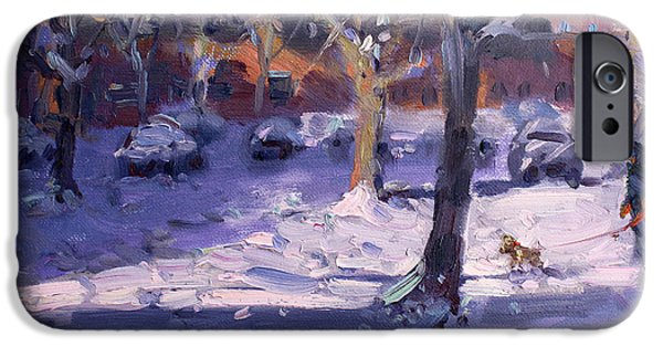 Royal Paintings iPhone Cases - Winter Morning in my Courtyard iPhone Case by Ylli Haruni