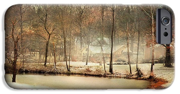 Winter Scene iPhone Cases - Winter Morning Pond iPhone Case by Jai Johnson