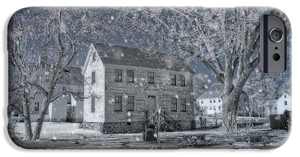 New England Snow Scene iPhone Cases - Winter Morning - Strawbery Banke - Portsmouth NH iPhone Case by Joann Vitali