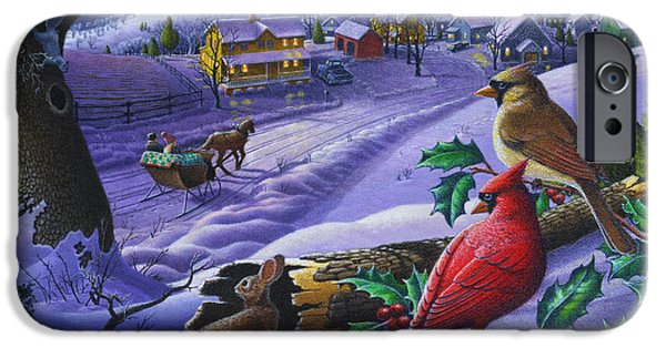 Snow Scene iPhone Cases - Winter Mountain Landscape - Cardinals on Holly Bush - Small Town - Sleigh Ride - Square format iPhone Case by Walt Curlee