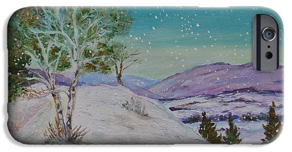 Recently Sold -  - Snowy iPhone Cases - Winter Mountains with Hare iPhone Case by Wendy Le Ber
