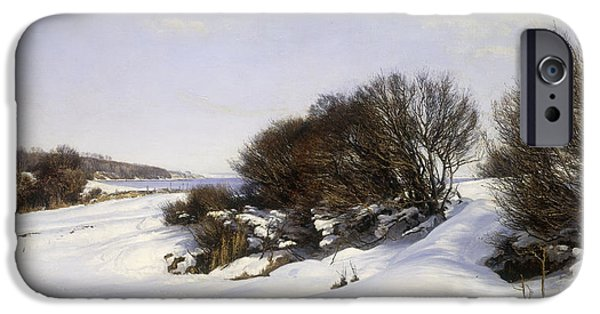 Winter Wonderland iPhone Cases - Winter Near the Sea iPhone Case by Janus la Cour