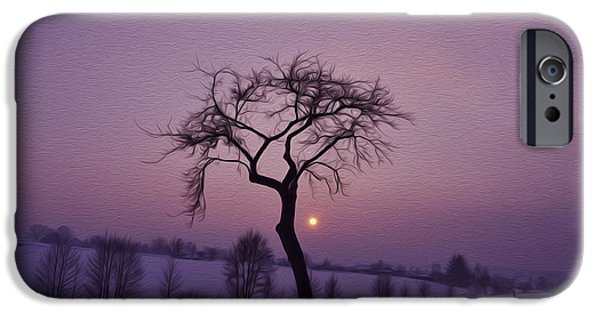 Winter Digital Art iPhone Cases - Winter Night iPhone Case by Aged Pixel