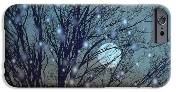 Snowy Night iPhone Cases - Winter Night Sky iPhone Case by Gothicolors Donna Snyder