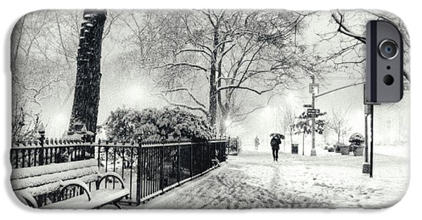 Bryant Photographs iPhone Cases - Winter Night - Snow - Madison Square Park - New York City iPhone Case by Vivienne Gucwa