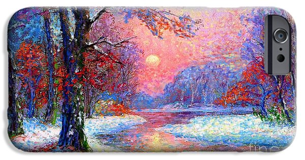 Sunset Paintings iPhone Cases - Winter Nightfall iPhone Case by Jane Small