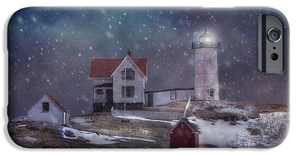 Nubble Lighthouse iPhone Cases - Winter Nights at Nubble Light iPhone Case by Joann Vitali