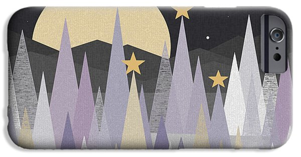 Snowy Night iPhone Cases - Winter Nights iPhone Case by Val Arie