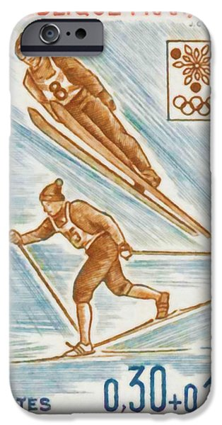 Skiing Posters Paintings iPhone Cases - WINTER OLYMPICS xed GRENOBLE 1968 iPhone Case by Lanjee Chee