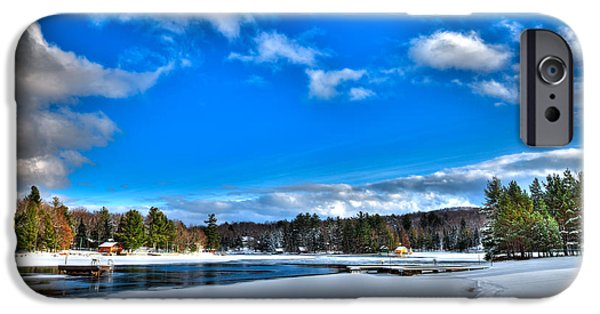 Winter Scene iPhone Cases - Winter on Old Forge Pond iPhone Case by David Patterson