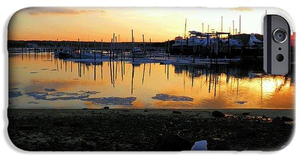 Harbor Sesuit Harbor iPhone Cases - Winter on Sesuit Harbor iPhone Case by Amazing Jules