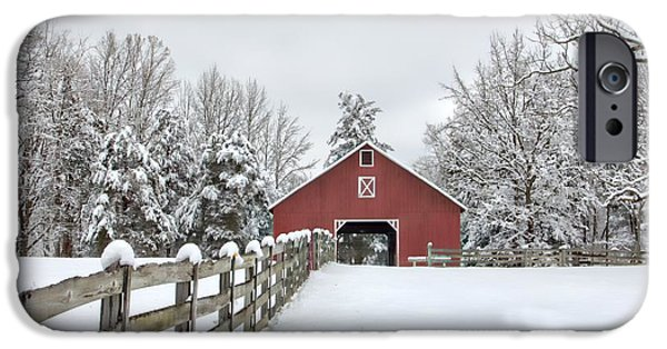Red Barn In Winter iPhone Cases - Winter on the Farm iPhone Case by Benanne Stiens