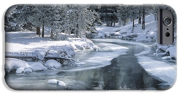 Wintertime iPhone Cases - Winter on the Firehole River - Yellowstone National Park iPhone Case by Sandra Bronstein