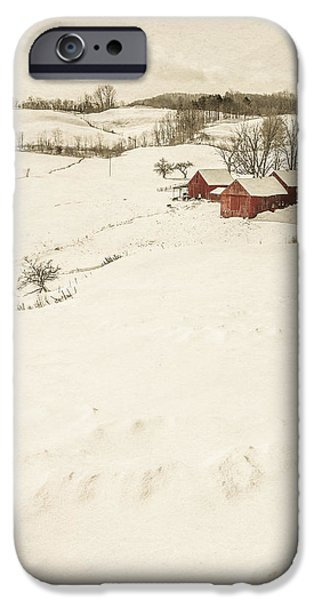 Agricultural iPhone Cases - Winter on the old farm iPhone Case by Edward Fielding