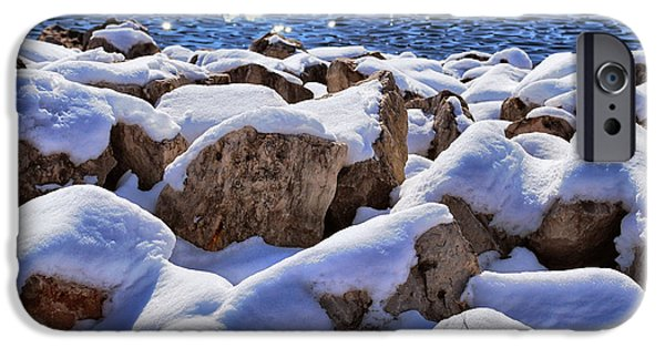 Appleton Photographs iPhone Cases - Winter On The Rocks iPhone Case by Shutter Happens Photography