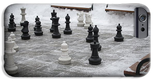 Intolerance iPhone Cases - Winter Outdoor Chess iPhone Case by Andreas Berthold