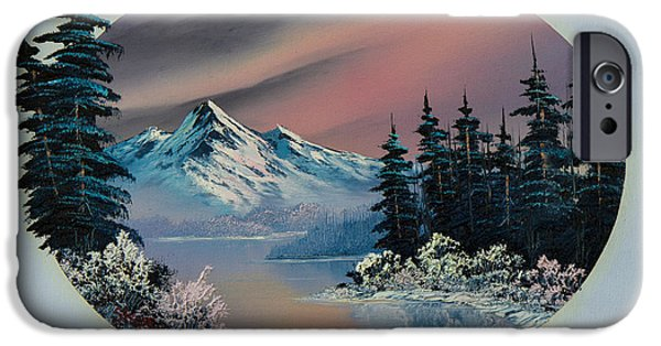 Bob Ross Paintings iPhone Cases - Winter Tranquility iPhone Case by C Steele