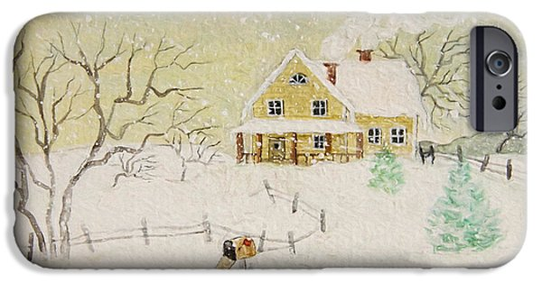 Altered iPhone Cases - Winter painting of house with mailbox/ digitally altered iPhone Case by Sandra Cunningham