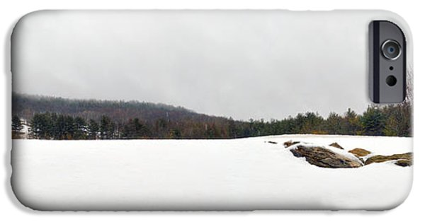 Rainy Day iPhone Cases - Winter Panoramic - The Berkshires iPhone Case by Geoffrey Coelho