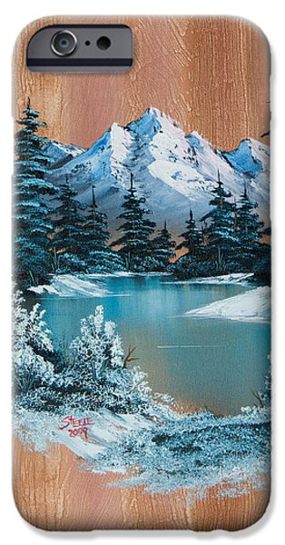 Bob Ross Paintings iPhone Cases - Winter Heaven iPhone Case by C Steele