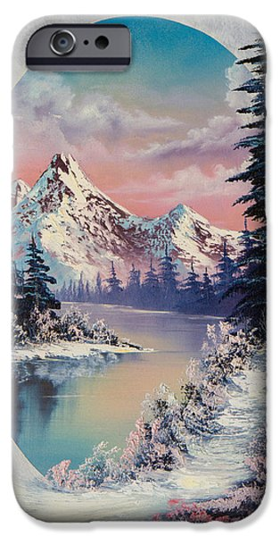 Bob Ross Paintings iPhone Cases - Winter Delight  iPhone Case by C Steele