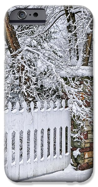 Snowy iPhone Cases - Winter park fence iPhone Case by Elena Elisseeva