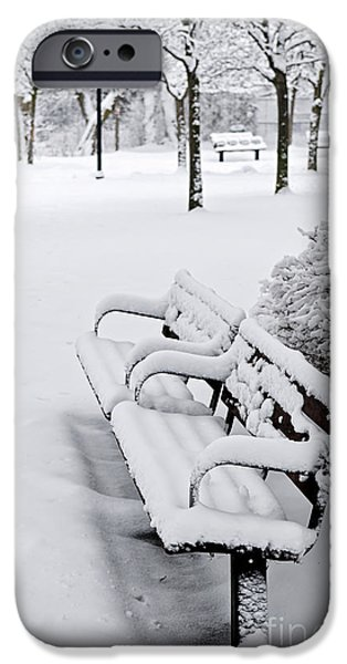 Park Benches iPhone Cases - Winter park with benches iPhone Case by Elena Elisseeva