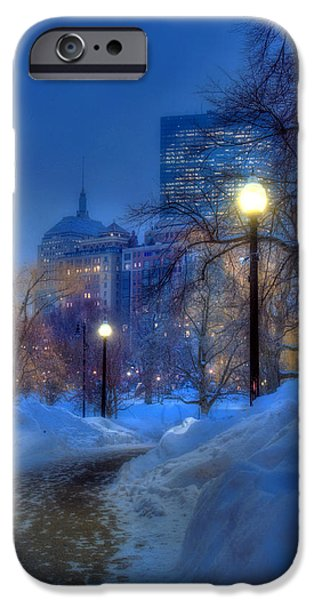 New England Snow Scene Photographs iPhone Cases - Winter Path - Boston Public Garden iPhone Case by Joann Vitali