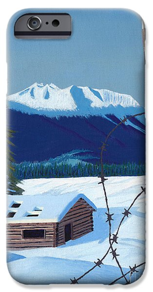 Snowy iPhone Cases - Winter Pioneer Cabin iPhone Case by Stanza Widen