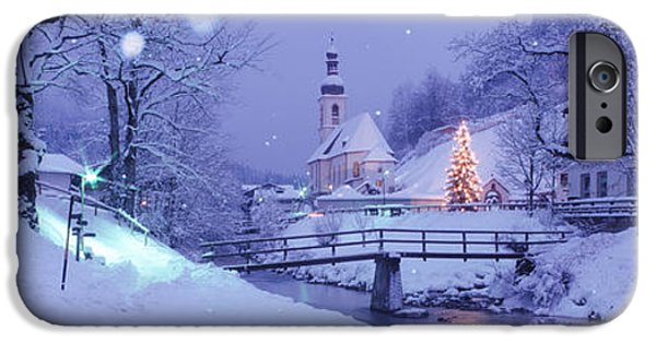 Snowy Night iPhone Cases - Winter Ramsau Germany iPhone Case by Panoramic Images
