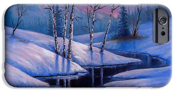 Bob Ross Paintings iPhone Cases - Winter Reflections iPhone Case by C Steele